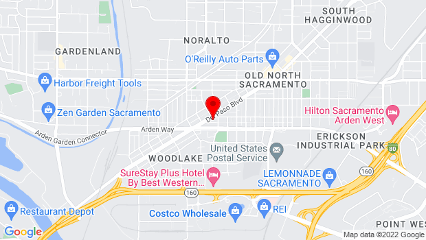 Google Map of 1616 Del Paso Blvd., Sacramento, CA 95815