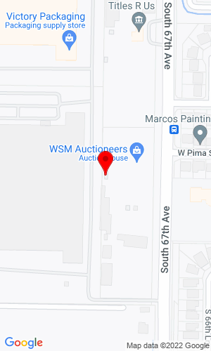 Google Map of WSM Auctioneers 1616 S. 67th Avenue, Phoenix, AZ, 85043