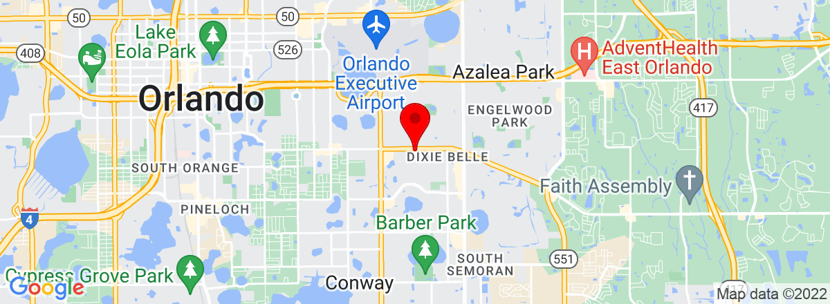 Google Map of 1618 Lockwood Ave Orlando, FL 32812
