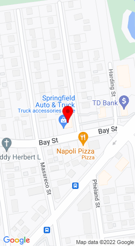 Google Map of Springfield Auto & Truck Inc. 1626 Bay Street, Springfield, MA, 01109