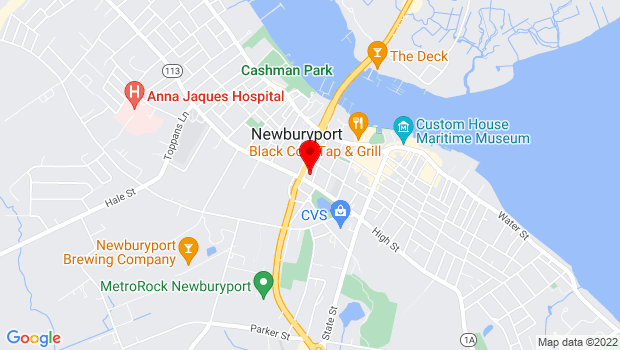 Google Map of 166 High Street, Newburyport, MA
