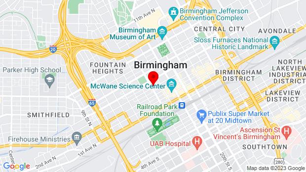 Google Map of 1700 4th Ave North, Birmingham, AL 35203