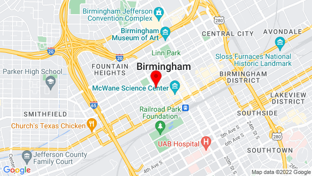 Google Map of 1700 4th Avenue North, Birmingham, AL 35203
