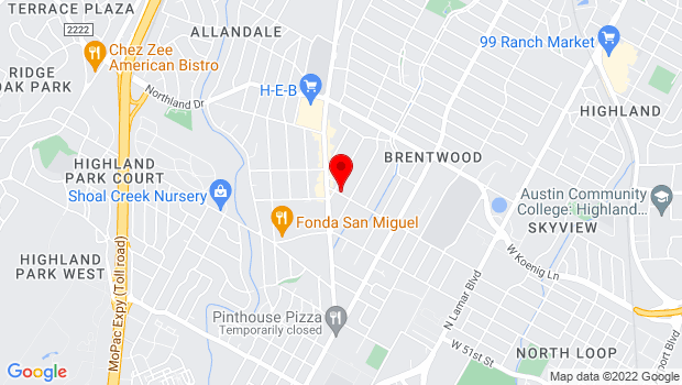 Google Map of 1708 Houston St., Austin, TX