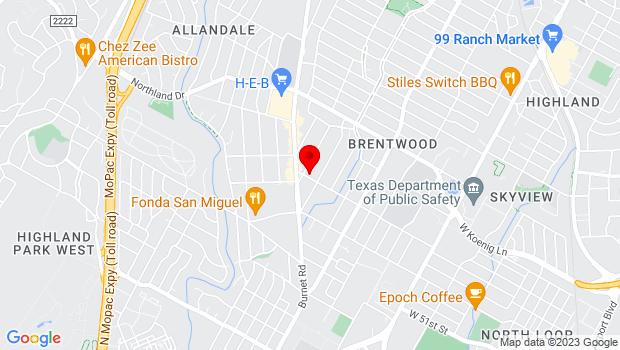 Google Map of 1708 Houston St., Austin, TX 78756
