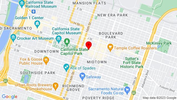 Google Map of 1716 L St., Sacramento, CA 95811