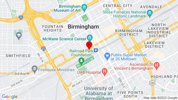 Google Map of 1731 First Avenue North, Birmingham, AL 35203