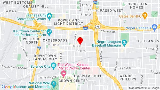 Google Map of 1737 Locust St, Kansas City, MO