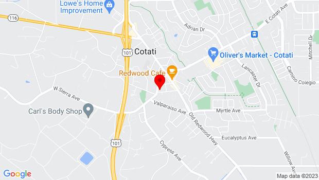 Google Map of 175 Page Street, Cotati, CA 94931