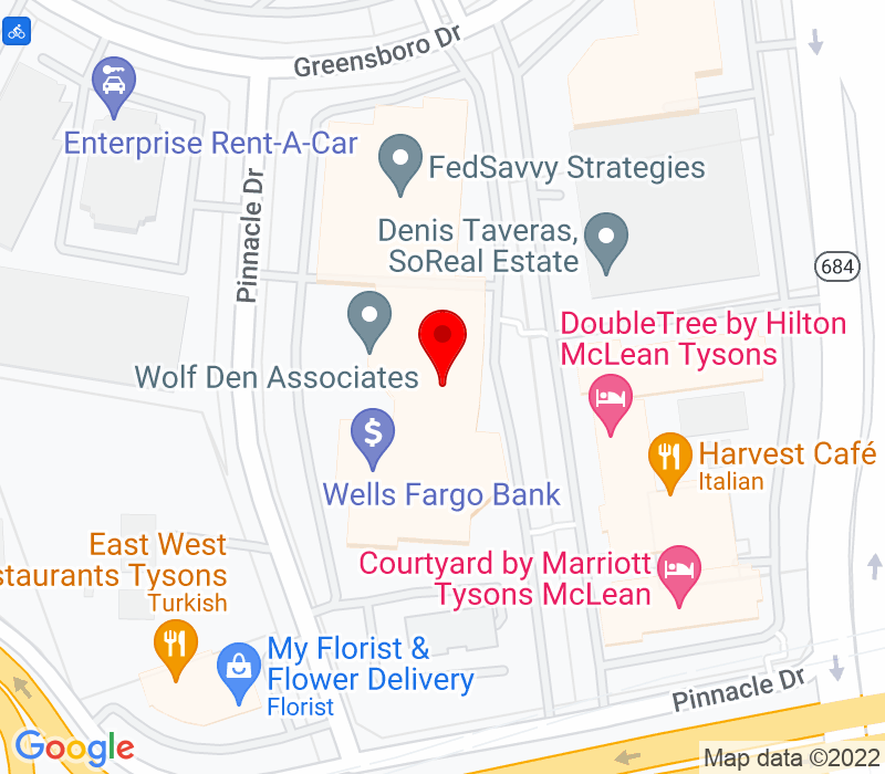 Click to view Google maps office address 1751 Pinnacle Drive, 4th Floor, McLean, VA 22102