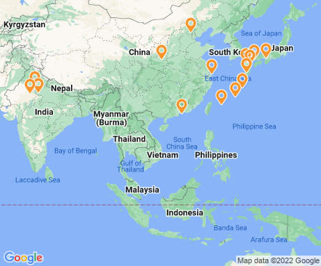 Map displaying itinerary locations