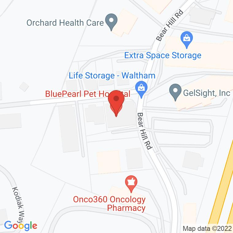 Google Map of 180 Bear Hill Rd, Waltham, MA 02451, 180 Bear Hill Rd, Waltham, MA 02451