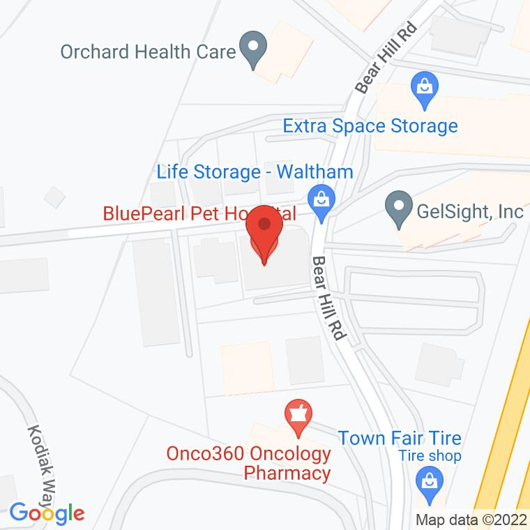 Google Map of 180 Bear Hill Rd., Waltham, MA, 02451