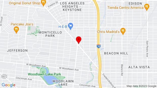 Google Map of 1800 Fredericksburg Rd., San Antonio, TX 78201