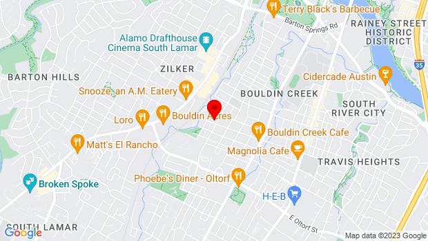 Google Map of 1800 S. Fifth St., Austin, TX 78704