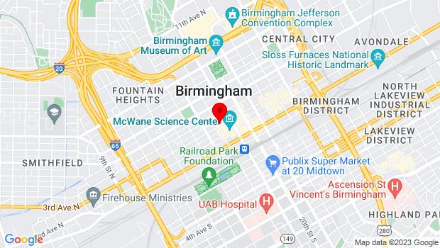 Google Map of 1800 Third Ave. N., Birmingham, AL 35203