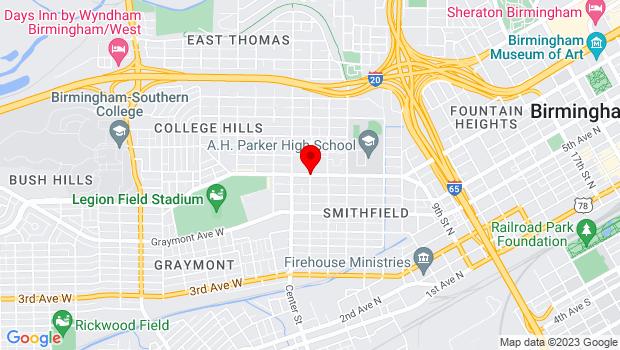 Google Map of 1801 Rev. Abraham Woods, Jr. Blvd., Birmingham, AL 35203