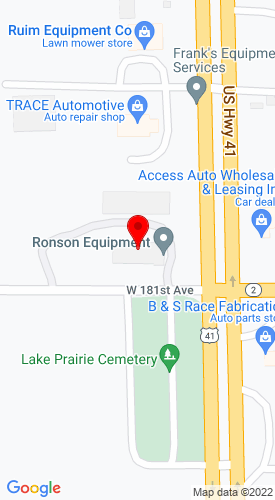 Google Map of Ronson Equipment Company 18030 Wicker Avenue, Lowell, IN, 46356