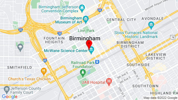 Google Map of 1820 Third Avenue North, Birmingham, AL