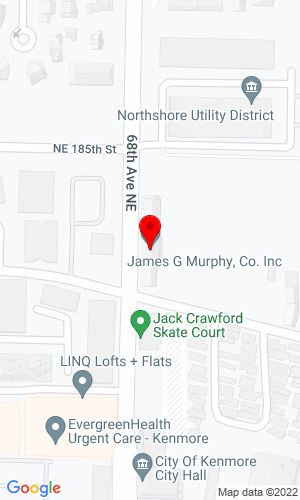 Google Map of James G. Murphy Co. 18226 68th Avenue NE (PO Box 82160), Kenmore, WA, 98028