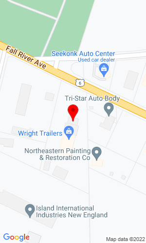 Google Map of Wright Trailers 1825 Fall River Ave., Seekonk, MA, 02771