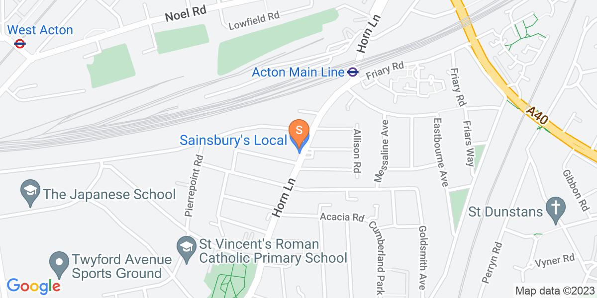 Google Map of 183 Horn Lane London W3 6NR