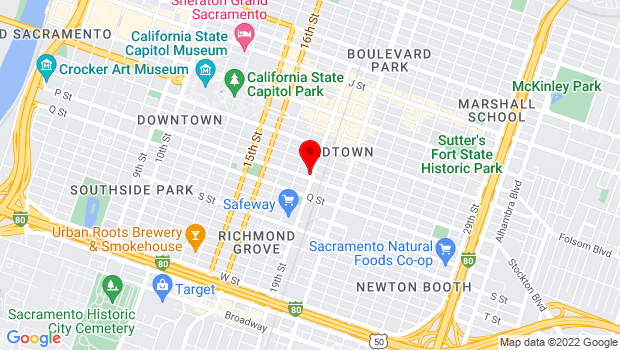 Google Map of 1831 P Street, Sacramento, CA 95811