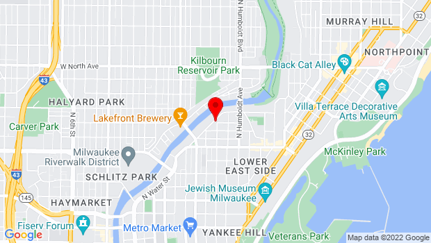 Google Map of 1850 N Water St., Milwaukee, WI 53202