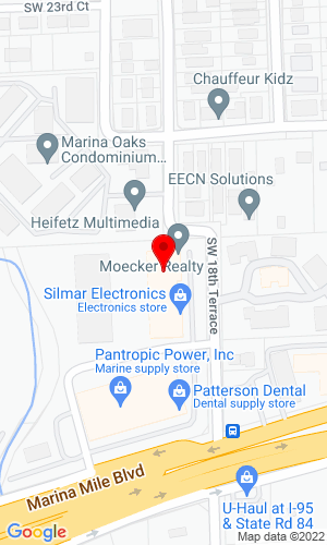 Google Map of Moecker Auctions Inc 1883 Marina Mile Blvd., Ste 106, Fort Lauderdale, FL, 33315