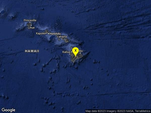 earthquake 26km W of Volcano, Hawaii