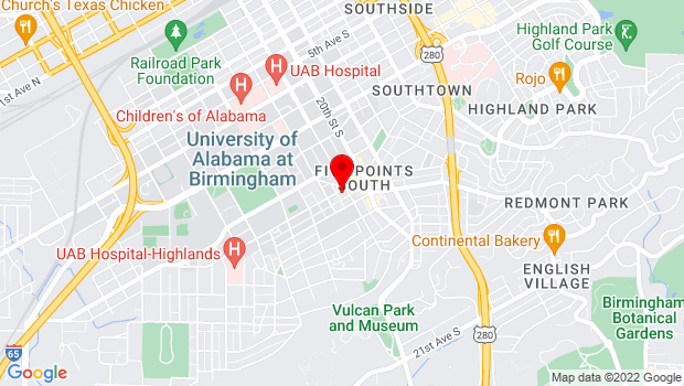 Google Map of 1901 ½  - 11th Avenue South, Birmingham, AL 35205