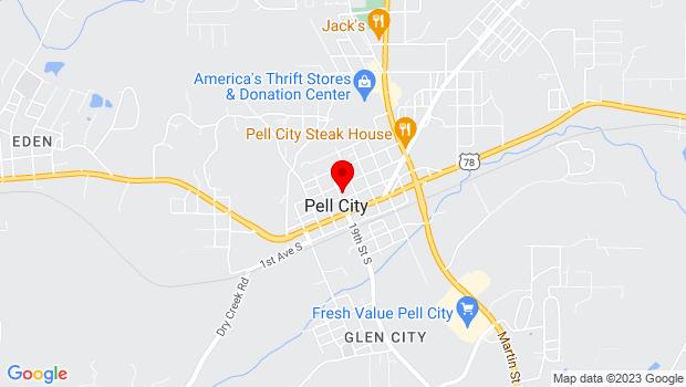 Google Map of 1905 1st Ave N, Pell City, AL 35125