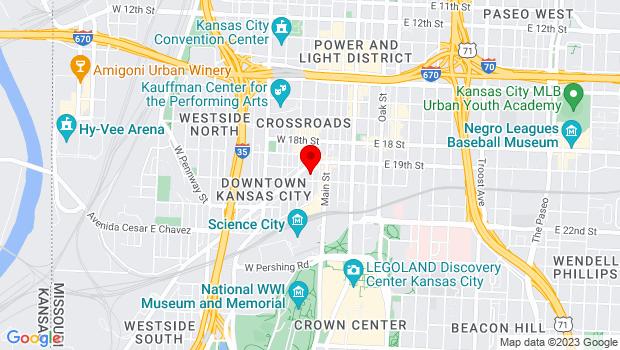 Google Map of 1922 Baltimore Ave, Kansas City, MO 64108