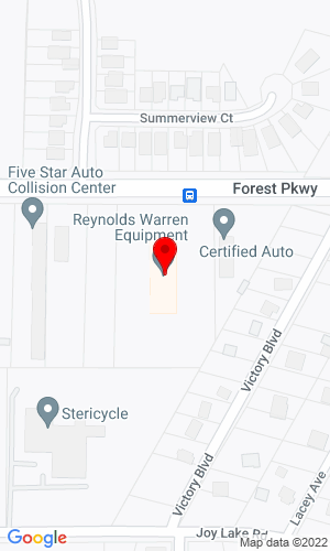 Google Map of Reynolds-Warren Equipment Company 1945 Forest Parkway, Lake City, GA, 30260