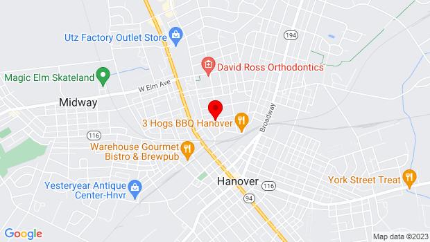 Google Map of 195 Stock St, Hanover, PA 17331