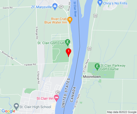 Google Map of 1970 River Rd St Claire MI 48079