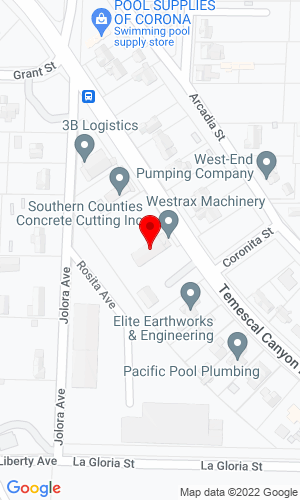 Google Map of Aggregate Machinery Specialists 19885 Temescal Canyon Rd , Corona, CA, 92881