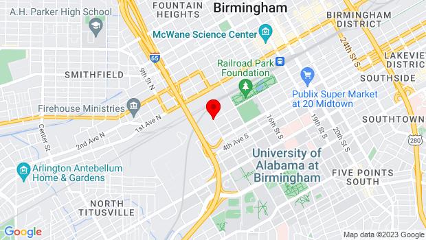 Google Map of 1st Ave S. & 12th Street S, Birmingham, AL 35233