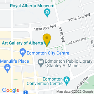 Map to Art Gallery of Alberta provided by Google