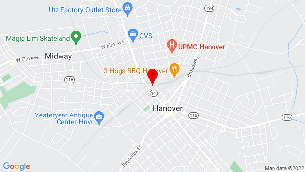 Google Map of 2 Library Pl, Hanover, PA 17331