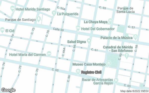 Static Map - Casona 61 Boutique Hotel by Koox Luxury Collection