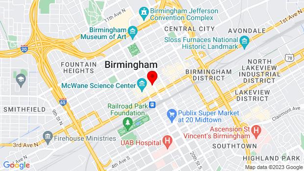 Google Map of 200 20th St North, Birmingham, AL 35203