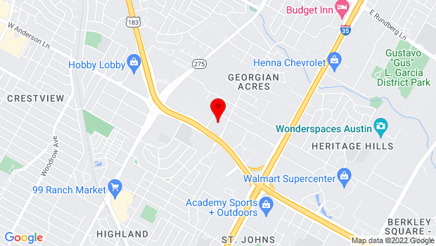 Google Map of 200 W Anderson Ln, Austin, TX 78752