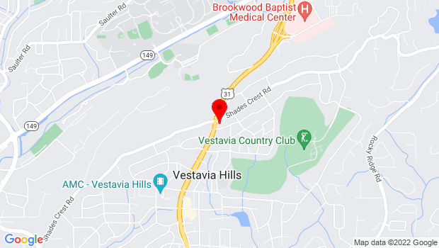 Google Map of 201 Montgomery Highway Vestavia Hills AL 35216-1801, Birmingham, AL 35216