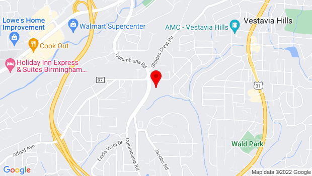 Google Map of 2017 Columbiana Rd, Vestavia Hills, AL 35216