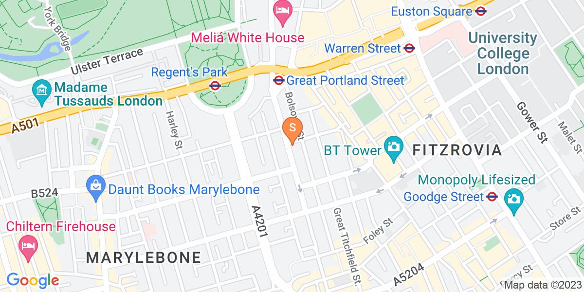 Google Map of 202 Great Portland Street London W1W 5QQ