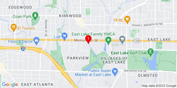 Google Map of 2029 memorial Drive SE. atlanta
