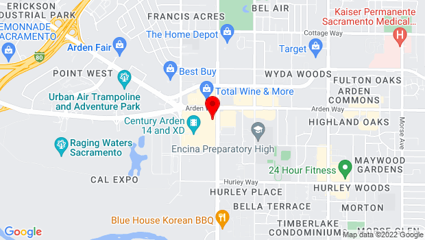 Google Map of 2100 Arden Way, Sacramento, CA 95825