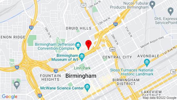 Google Map of 2100 Richard Arrington Jr Blvd North, Birmingham, AL 35203