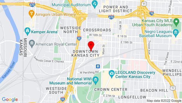 Google Map of 2101 Central St, Kansas City, MO 64108